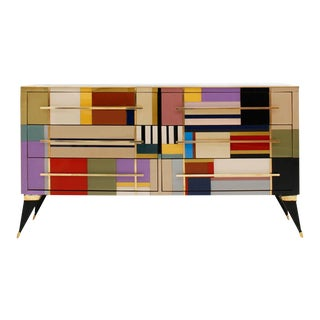 Mid-Century Style Murano Glass and Brass Italian Sideboard For Sale