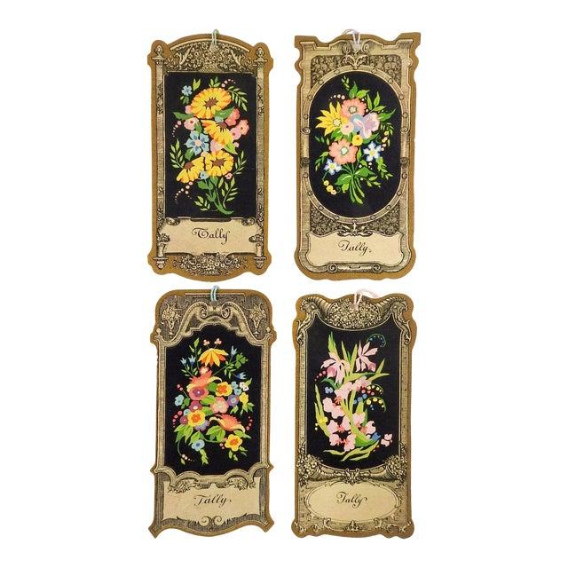 Die Cut Vintage 1930's Floral Baroque Bridge Tally Cards - Set of 4 For Sale