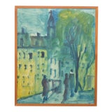 Image of Impressionist Blue Toned City-Scape 1965 For Sale