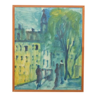 Impressionist Blue Toned City-Scape 1965 For Sale