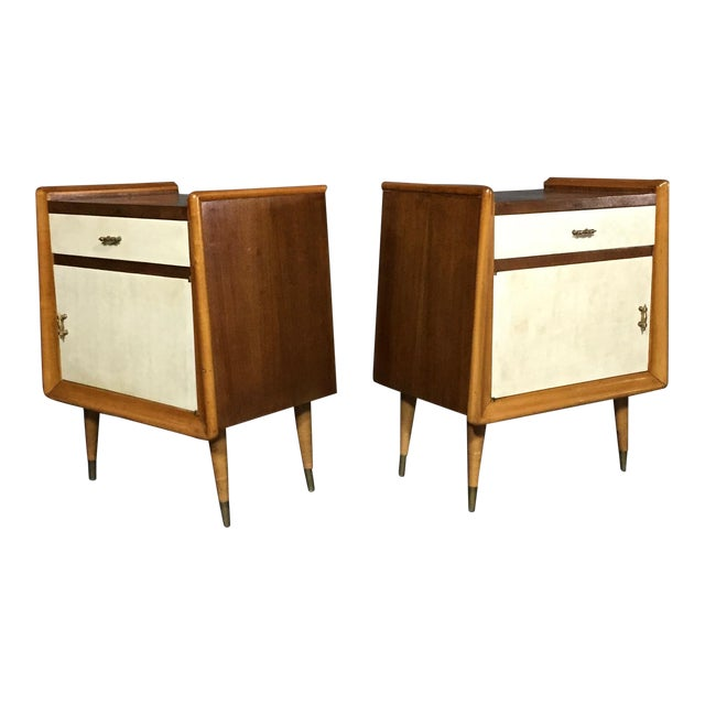 Pair Italian 1960 Parchment and Maple Nightstands For Sale
