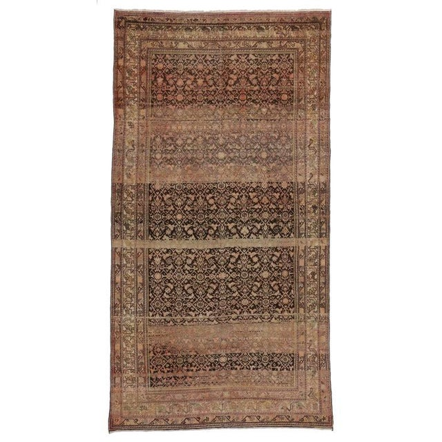 Textile Antique Persian Malayer Rug with Modern Design and Industrial Aesthetic For Sale - Image 7 of 7