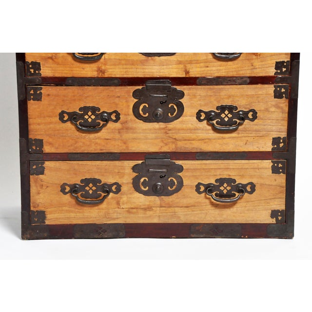 Metal Japanese Two Pc. Tansu Chest With Hand Forged Hardware For Sale - Image 7 of 13