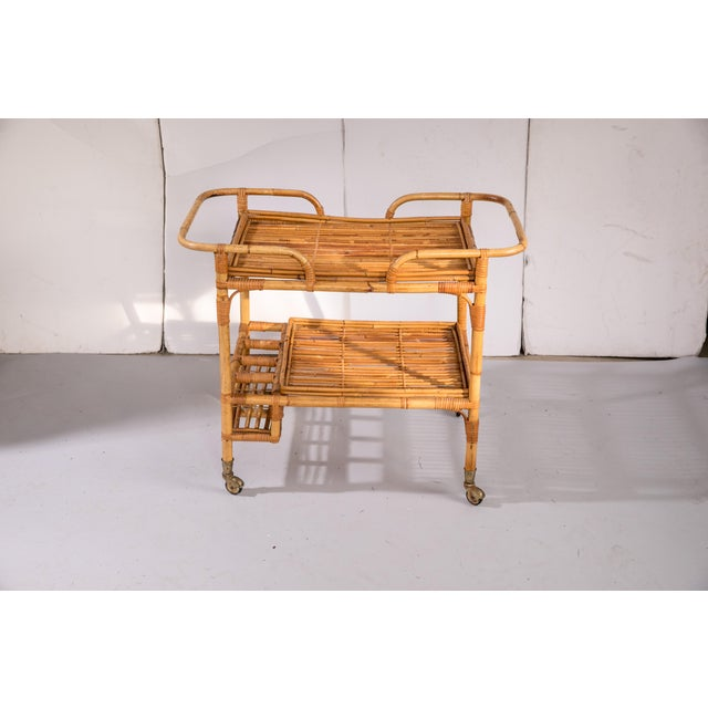 Mid-Century Rattan Bar Cart For Sale In Greensboro - Image 6 of 9