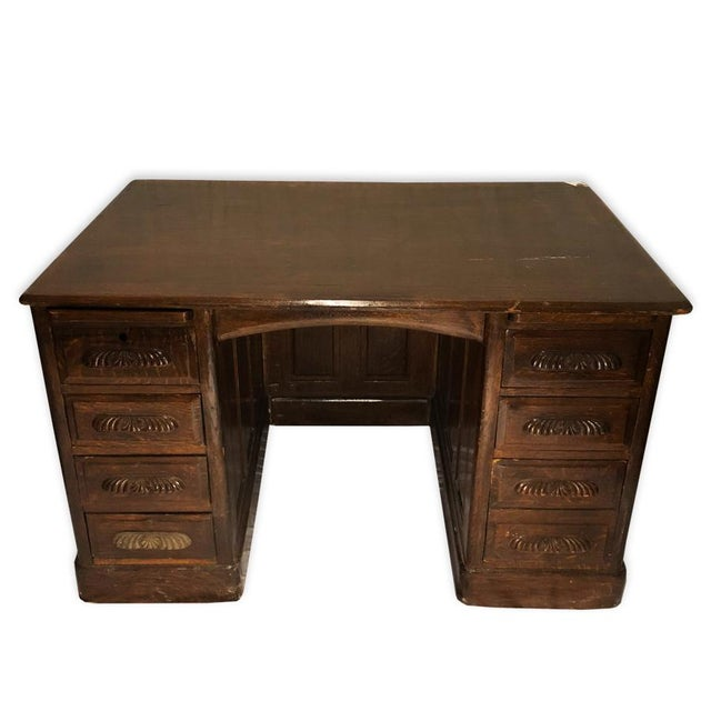 Brown Antique Victorian Lawyers Library Carved Tiger Oak Office Executives  Desk For Sale - Image 8 - Antique Victorian Lawyers Library Carved Tiger Oak Office Executives