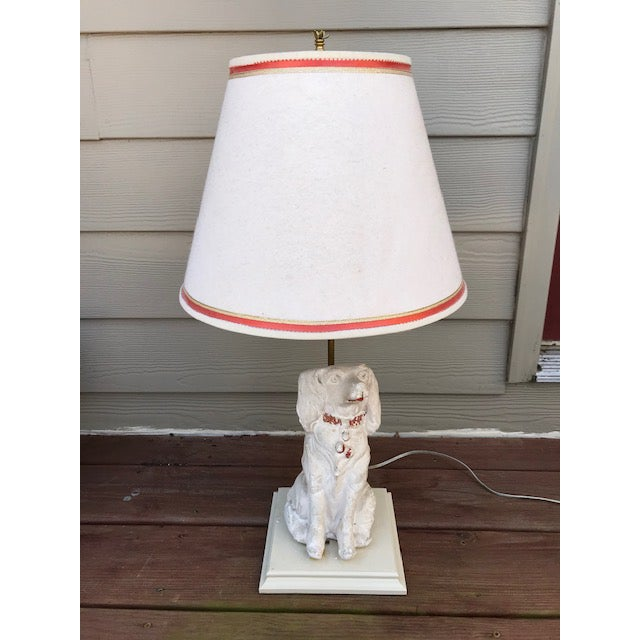 Wood Late 19th Century Cavalier King Charles Spaniel Lamp With Original Shade For Sale - Image 7 of 7