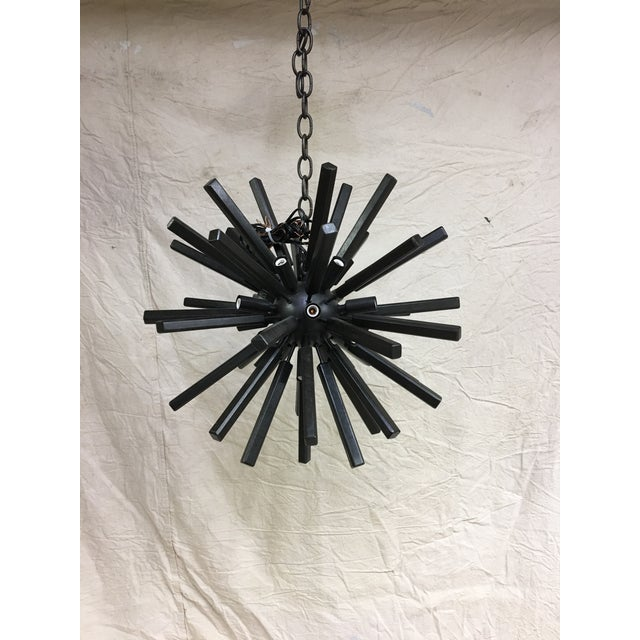 Visual Comfort Lawrence Small Sputnik Chandelier by E. F. Chapman for Visual Comfort in Aged Iron For Sale - Image 4 of 4