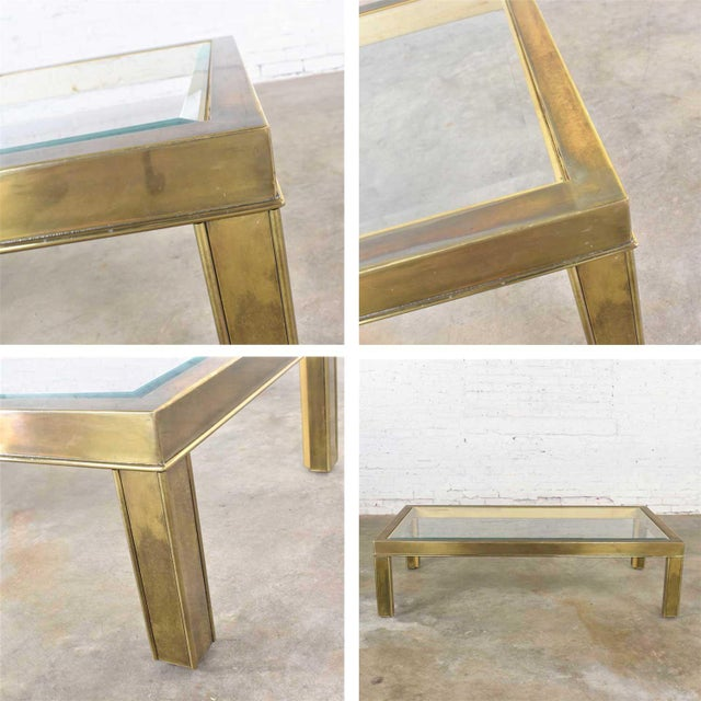 Large Modern Brass & Glass Parsons Style Coffee or Cocktail Table Style Mastercraft For Sale - Image 12 of 13
