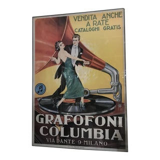 Vintage Grafofoni Columbia Poster - Framed For Sale