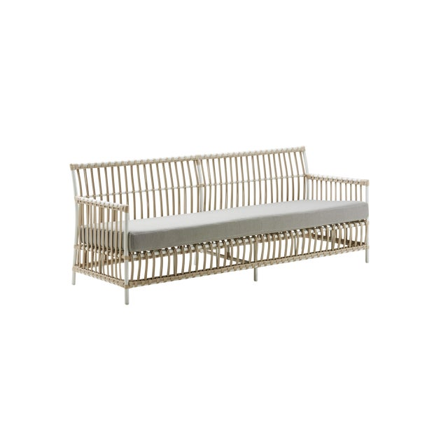 Metal Caroline Exterior 3-Seater Sofa - Dove White - Sunbrella Sailcloth Seagull Seat and Back Cushions For Sale - Image 7 of 7