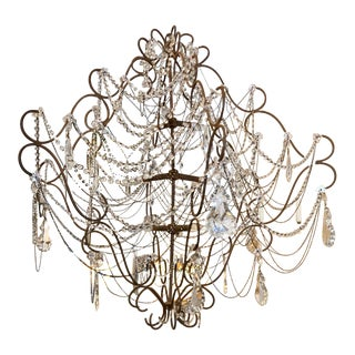 Very Unusual Vintage Beaded & Crystal Chandelier For Sale