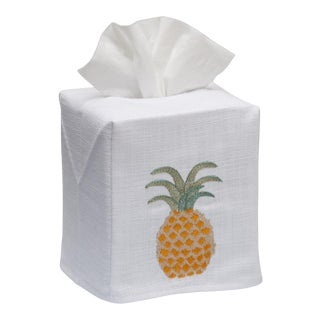 Pineapple Tissue Box Cover in White Linen & Cotton, Embroidered For Sale