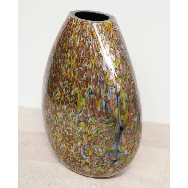 2010s Signed Crepax Murano Glass Vase in Olive and Copper Metallic For Sale - Image 5 of 6
