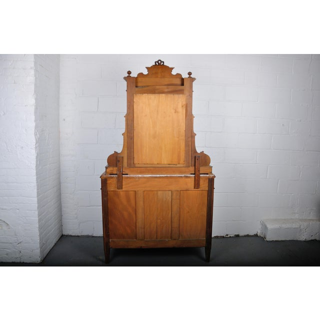1900's French Walnut Vanity Dresser with Red Italian Marble Top For Sale - Image 12 of 13