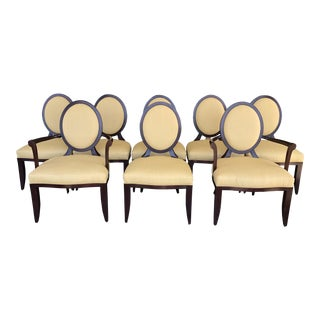 Barbara Barry Cross Back Oval Dining Chairs by Baker Furniture, a Set of 8 For Sale
