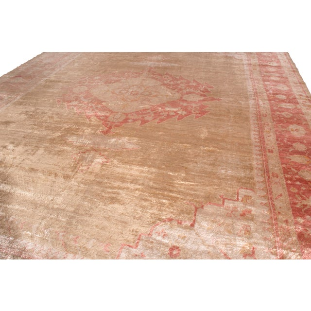 Traditional Antique Oushak Rug Red and Gold Angora-Wool Medallion Pattern For Sale - Image 3 of 6