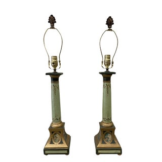 Emprie Style Italian Parcel Gilt Painted Terra Cotta Table Lamps - a Pair For Sale