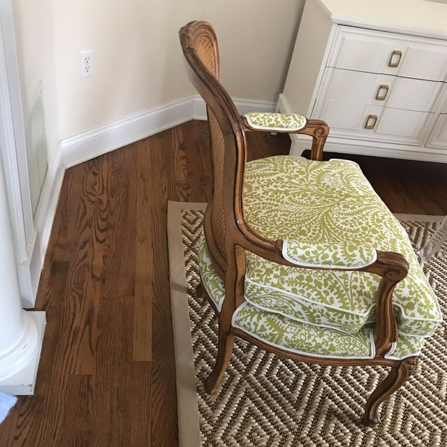 Vintage Cane French Louis Chair Raoul Textiles Fabric - Image 5 of 7