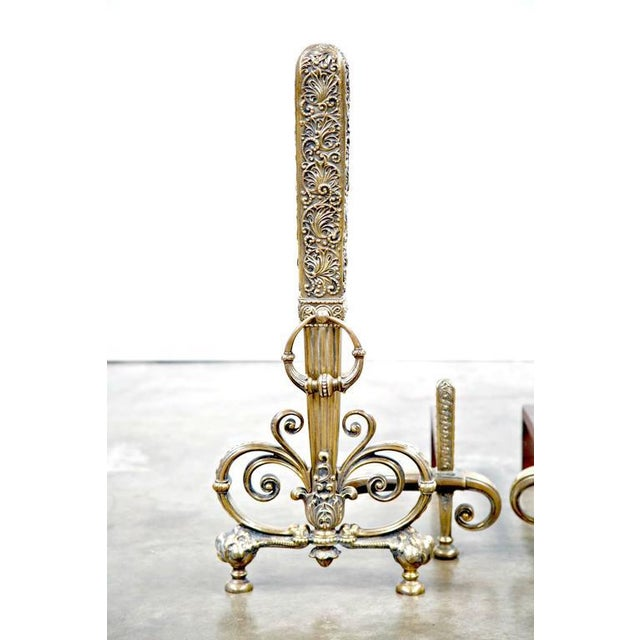 Tiffany Studios Fine Pair of Brass and Wrought Iron Andirons Attributed to Tiffany Studios For Sale - Image 4 of 10