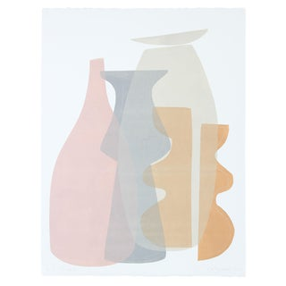 """""""Vessel Collection Ii"""" Light Toned Abstracted Monotype For Sale"""