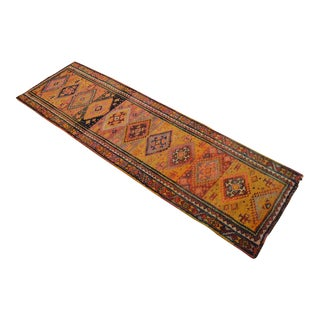 Pure Natural Dyes Antique Kurdish Runner Hand-Knotted Tribal Primitive Herki Runner - 2′11 ″ x 9′5″