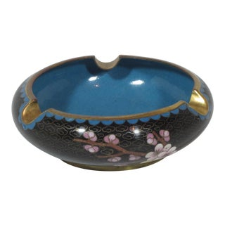 1970s Cloisonne Blue and Black Ash Tray For Sale