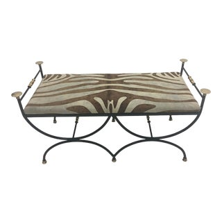 Vintage Italian Wrought Iron Brass and Cowhide Bench For Sale