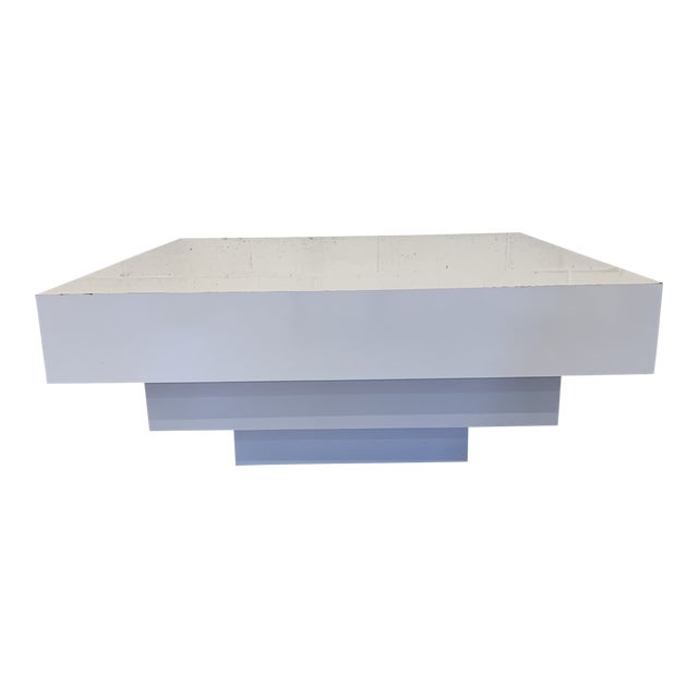 Contemporary Modern Tiered White Gloss Coffee Table For Sale