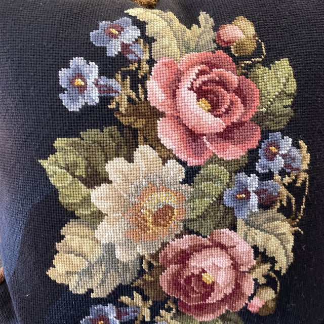 Traditional Vintage Needlepoint Floral Pillow For Sale - Image 3 of 6