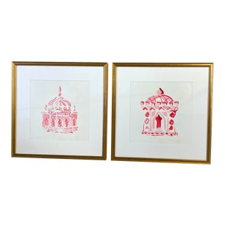 Sussex & Brighton Pink Pagoda Prints, Framed - a Pair For Sale