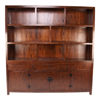 19th Century Two Section Cabinet With Display Shelves With Restoration For Sale