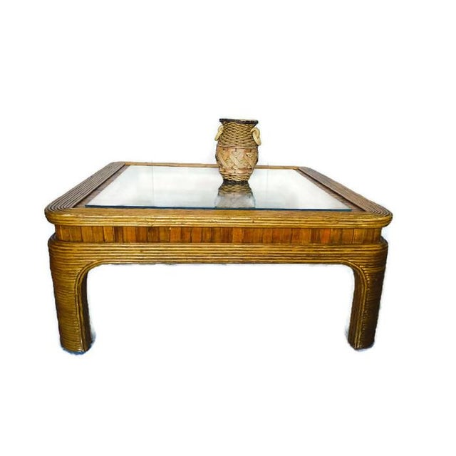 Vintage Split Reed Bamboo Coffee Table - Image 8 of 8