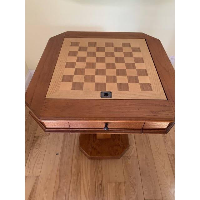 Traditional Solid Wood Pedestal Leg Chess Table by Powell For Sale - Image 3 of 6