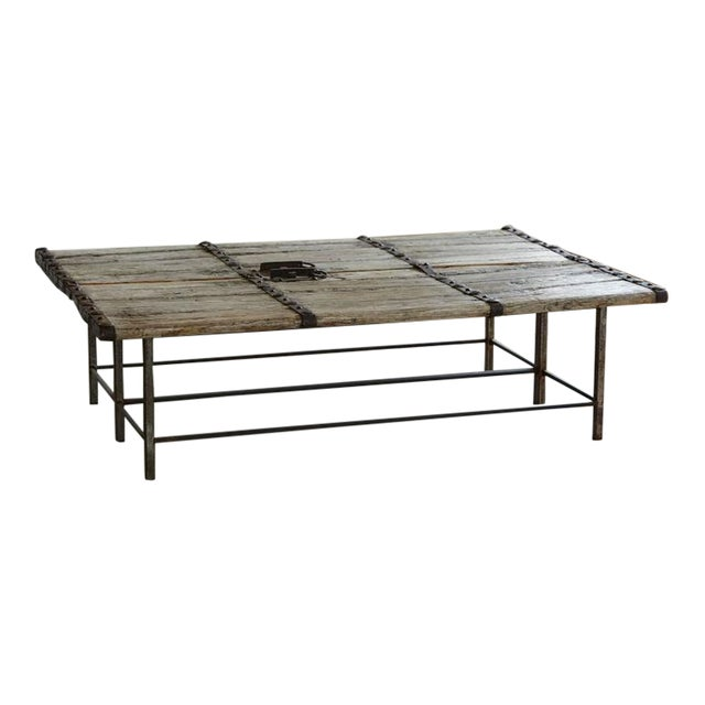 Low Antique Chinese Gate Doors Coffee Table on Custom-Made Welded Metal Base For Sale