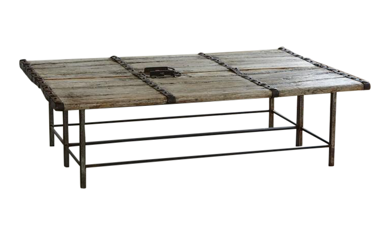 Incroyable Low Antique Chinese Gate Doors Coffee Table On Custom Made Welded Metal  Base For Sale