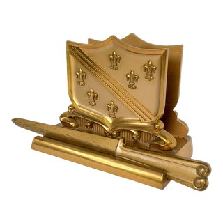 French Fleur De Lis Desk Set With Letter Rack and Envelope Opener For Sale