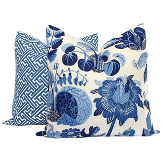 "20"" x 20"" Schumacher Butterfly in Blue Decorative Pillow Cover For Sale"