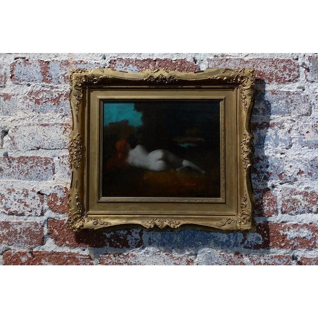 19th Century Jean-Jacques HennerStyle Study of a Nude Nymph Oil Painting For Sale - Image 11 of 11