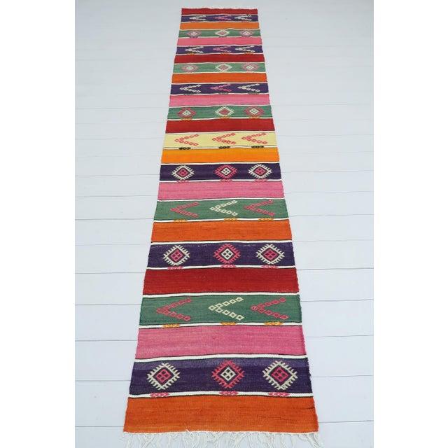 Textile Vintage Turkish Kilim Runner-2′ × 9′5″ For Sale - Image 7 of 13