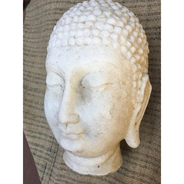 Hand Chiseled Marble Head of Buddha Statue - Image 4 of 6