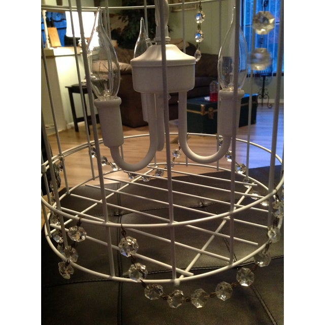 White Birdcage 3 Light Chandelier With Antique Glass Prisms - Image 9 of 9