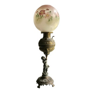 Antique Victorian Cherub and Round Hand Painted Globe Parlor Lamp For Sale