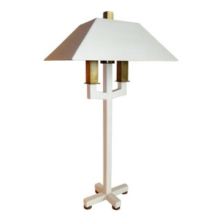 Hart Associates Postmodern Bouillotte Lamp With Painted Brass Metal Shade 1970s.