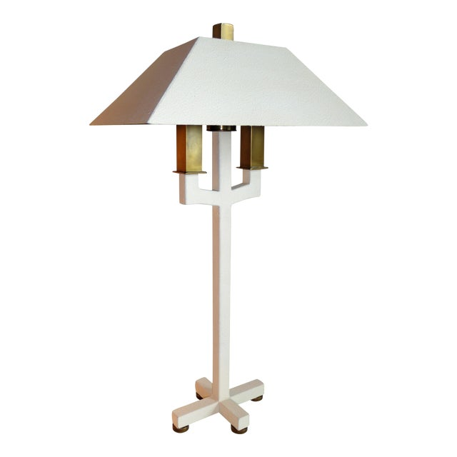 Hart Associates Postmodern Bouillotte Lamp With Painted Brass Metal Shade 1970s. For Sale