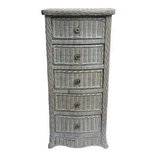 Wicker Curved Serpentine Lingerie Chest of Drawers For Sale