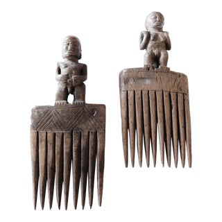 African Old Baule Comb W/ Female & Male Sculpture S/2