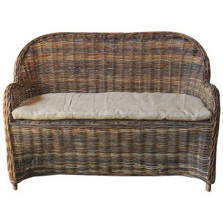 Organic Modern Woven Rattan and Wicker Settee For Sale