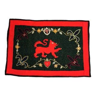 Vintage Folk Art Wool Crewel Work Lion Motif Rug/Hanging For Sale