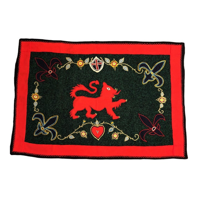 Vintage Folk Art Wool Crewel Work Lion Motif Rug/Hanging For Sale