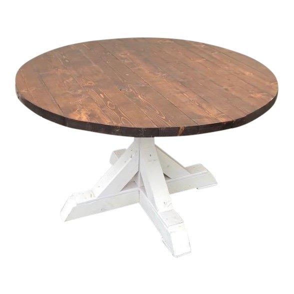 Rustic Walnut Round Farm Table For Sale